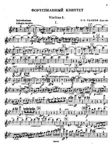 Piano Quintet in G Minor, Op.30: Violin I part by Sergei Taneyev
