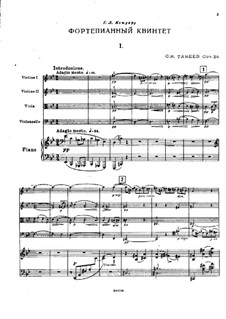 Piano Quintet in G Minor, Op.30: Full score by Sergei Taneyev