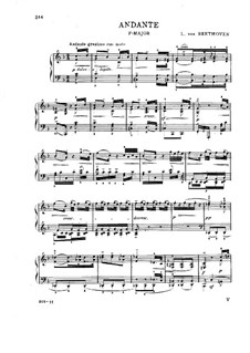 Andante Favori, WoO 57: For piano by Ludwig van Beethoven