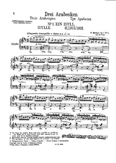 Three Arabesques, Op.7: Complete set by Nikolai Medtner