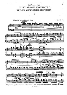 Four Lyrical Fragments, Op.23: Four Lyrical Fragments by Nikolai Medtner