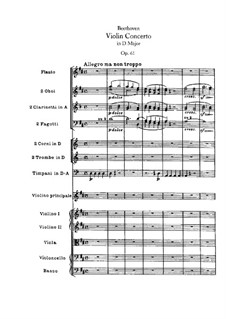 Concerto for Violin and Orchestra in D Major, Op.61: Full score by Ludwig van Beethoven