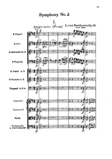 Symphony No.2, Op.36: Full score by Ludwig van Beethoven
