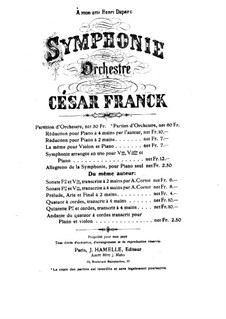 Simphony in D Minor, Op.48: Movement I, for piano four hands by César Franck