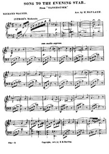 O Star of Eve: For piano by Richard Wagner