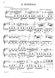 Il Desiderio (Le Désir), Op.14: For piano by Henri Cramer