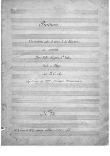 Variations on Hungarian Theme for String Quartet, Op.23: Variations on Hungarian Theme for String Quartet by Juan Crisóstomo de Arriaga