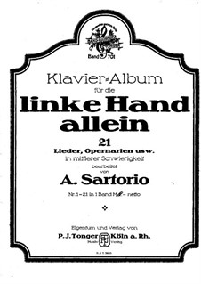 Album for the Left Hand Alone: Complete set by Robert Schumann, Carl Maria von Weber, Richard Wagner, Gaetano Donizetti, Giacomo Meyerbeer, Adrien Boieldieu, folklore, Friedrich von Flotow, Albert Lortzing, Max Filke