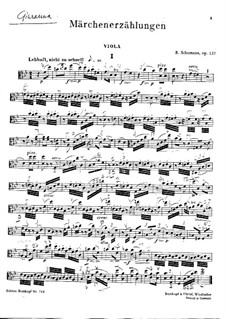 Märchenerzählungen (Fairy Tales), Op.132: Viola part by Robert Schumann
