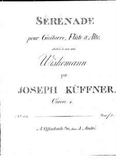 Serenade for Flute, Viola and Guitar, Op.4: Parts by Joseph Küffner