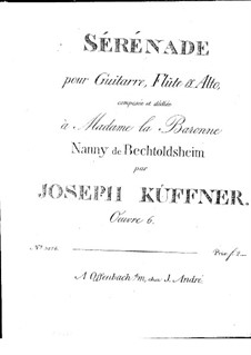 Serenade for Flute (or Violin), Viola and Guitar, Op.6: Parts by Joseph Küffner
