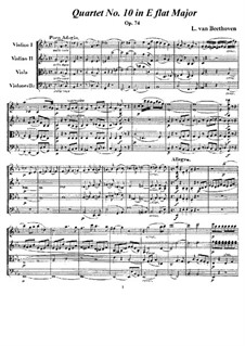 String Quartet No.10 in E Flat Major 'Harp', Op.74: Full score and parts by Ludwig van Beethoven