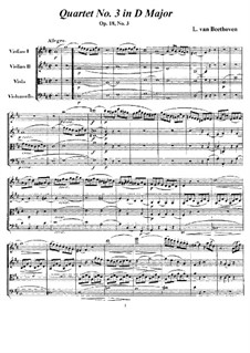 Quartet No.3 in  D Major: Full score and parts by Ludwig van Beethoven