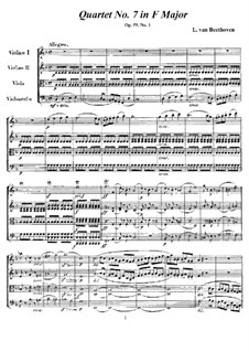 String Quartet No.7 in F Major, Op.59 No.1: Full score and parts by Ludwig van Beethoven