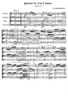 String Quartet No.8 in E Minor 'Rasumowsky-Quartet', Op.59 No.2: Full score and parts by Ludwig van Beethoven