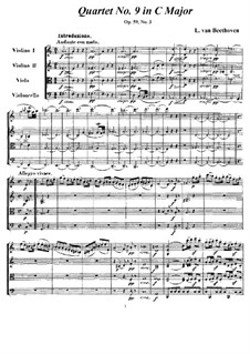 String Quartet No.9 in C Major, Op.59 No.3: Full score and parts by Ludwig van Beethoven