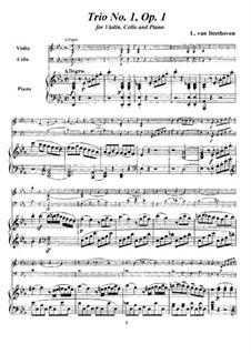 Three Piano Trios, Op.1: Trio No.1, score and parts by Ludwig van Beethoven