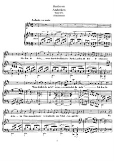 Andenken, WoO 136: Piano score with vocal part by Ludwig van Beethoven