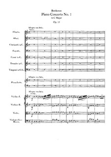 Concerto for Piano and Orchestra No.1, Op.15: Full score by Ludwig van Beethoven