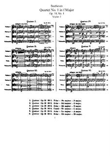 Quartet No.1 in F Major: Violin I part by Ludwig van Beethoven