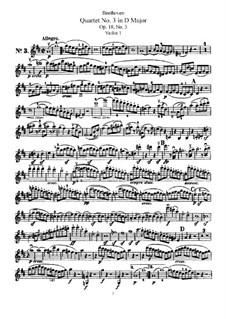 Quartet No.3 in  D Major: Violin I part by Ludwig van Beethoven