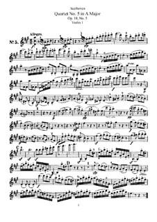 Quartet No.5 in A Major: Violin I part by Ludwig van Beethoven