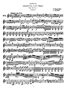 Quartet No.1 in F Major: Violin II part by Ludwig van Beethoven