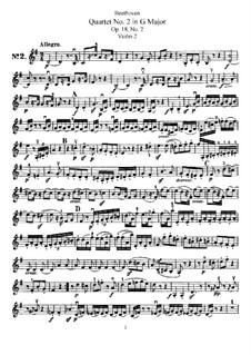 Quartet No.2 in G Major: Violin II part by Ludwig van Beethoven