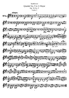Quartet No.5 in A Major: Violin II part by Ludwig van Beethoven