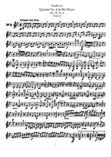 Quartet No.6 in B Flat Major: Violin II part by Ludwig van Beethoven