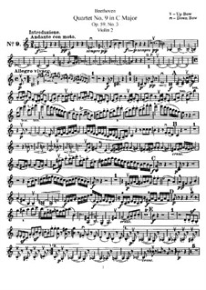 String Quartet No.9 in C Major, Op.59 No.3: Violin II part by Ludwig van Beethoven