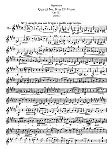 String Quartet No.14 in C Sharp Minor, Op.131: Violin II part by Ludwig van Beethoven