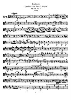 Quartet No.3 in  D Major: Viola part by Ludwig van Beethoven