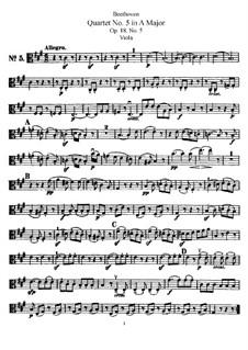 Quartet No.5 in A Major: Viola part by Ludwig van Beethoven
