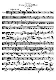 Quartet No.6 in B Flat Major: Viola part by Ludwig van Beethoven