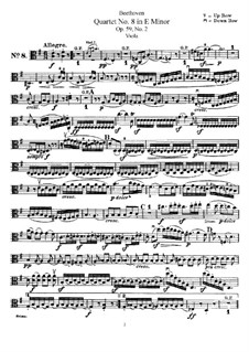 String Quartet No.8 in E Minor 'Rasumowsky-Quartet', Op.59 No.2: Viola part by Ludwig van Beethoven