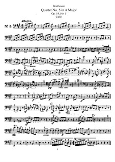 Quartet No.5 in A Major: Cello part by Ludwig van Beethoven