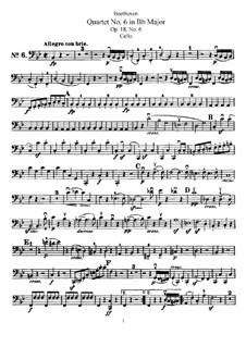 Quartet No.6 in B Flat Major: Cello part by Ludwig van Beethoven