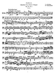 String Quartet No.9 in C Major, Op.59 No.3: Cello part by Ludwig van Beethoven