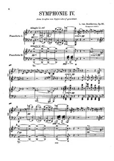 Symphony No.4, Op.60: Movements I-II, for two pianos four hands by Ludwig van Beethoven