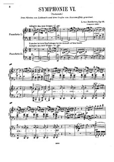 Fragments: Movements I-II. Version for two pianos four hands by Ludwig van Beethoven