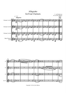 Allegretto for Four Clarinets: Score by Ludwig van Beethoven