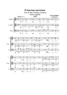 O Sacrum Convivium. SAB a cappella, CS149 No.3: O Sacrum Convivium. SAB a cappella by Santino Cara