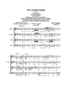 Ave verum corpus (No.2). SATB a cappella, Op.158 No.2: Ave verum corpus (No.2). SATB a cappella by Santino Cara
