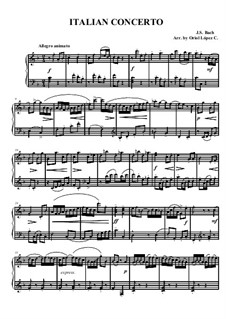 Italian Concerto, BWV 971: For easy piano by Johann Sebastian Bach