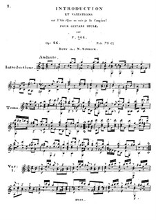 Introduction and Variations on Aria 'Que ne suis-je la fougère', Op.26: Introduction and Variations on Aria 'Que ne suis-je la fougère' by Fernando Sor