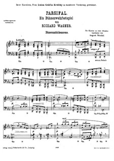 Parsifal and Flower Maidens: For piano by Richard Wagner