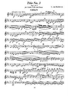 Three Piano Trios, Op.1: Trio No.3 – parts by Ludwig van Beethoven