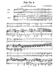 Trio for Violin, Cello and Piano No.6, Op.70 No.2: Full score and parts by Ludwig van Beethoven