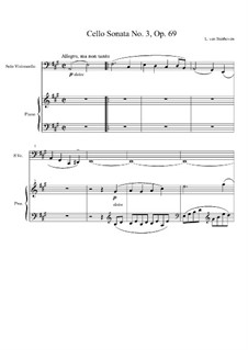 Sonata for Cello and Piano No.3 in A Major, Op.69: Score by Ludwig van Beethoven